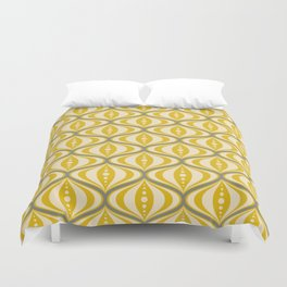 Retro Mid-Century Saucer Pattern in Yellow, Gray, Cream Duvet Cover