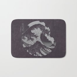 The Great Wave off Kanagawa Black and White Bath Mat