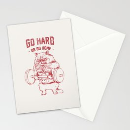 Go Hard or Go home Cat Stationery Cards