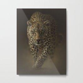 Leopard Prowling - Savage Metal Print