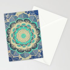 Midnight Bloom - detailed floral doodle in gold, navy blue & mint Stationery Cards