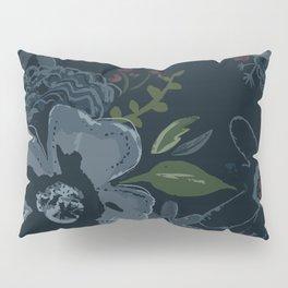 Moody Blues Floral Pattern Pillow Sham