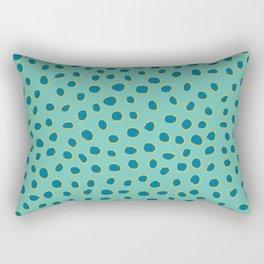PolkaDots, Spots - Turquoise Teal Blue Rectangular Pillow