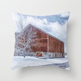 Snowing at the Farm Throw Pillow