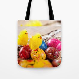 Easter eggss and fluffy chickens Tote Bag