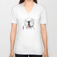 english bulldog V-neck T-shirts featuring English bulldog // White  by ali_grace_gal