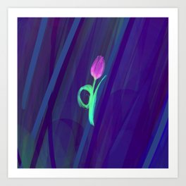 Neon Tulip in Blueness Art Print