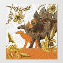 Jurassic Stegosaurus: Orange & Gold Canvas Print