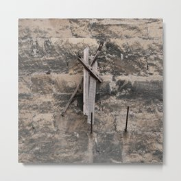 Drift wood on the stone wall Metal Print