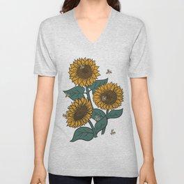 Sunflowers + Bees Unisex V-Neck