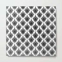 Black and White Art Deco Fan Design Metal Print