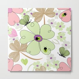 Butterfly & Floral Pattern Metal Print