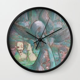 a gay pool party Wall Clock