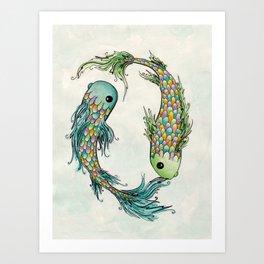 Chasing Tails Art Print