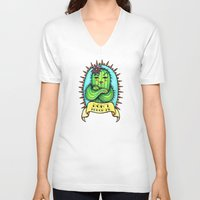 sassy V-neck T-shirts featuring Sassy Cactus by LittleWillowArt
