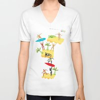 holiday V-neck T-shirts featuring Holiday by Lazy bEE