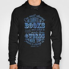 Be Careful Of Books - White and Blue Hoody