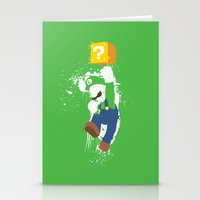 luigi Stationery Cards featuring Luigi Paint by The Daily Robot