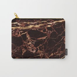 Marble, Masala Red + Faux Gold Veins Carry-All Pouch