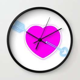 Neon pink love heart and blue arrow Wall Clock