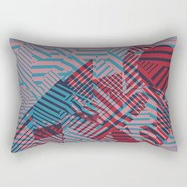 Dazzle Camo #02 - Blue & Red Rectangular Pillow