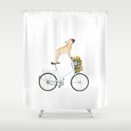 French Bulldog on Bicycle Shower Curtain