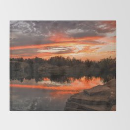 Sunset at Halibut Point Quarry Throw Blanket