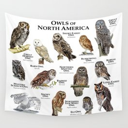 Owls of North America Wall Tapestry