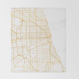 CHICAGO ILLINOIS CITY STREET MAP ART Throw Blanket
