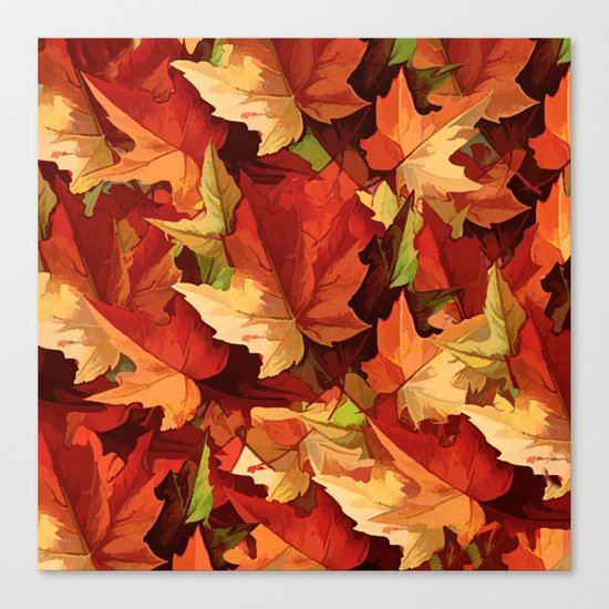 Autumn Leaves Abstract - Painterly Canvas Print