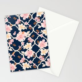 Blush Pink Floral on Navy Stationery Cards