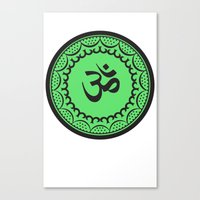 islam Canvas Prints featuring Black And Green Islam Religious Symbol by ArtOnWear
