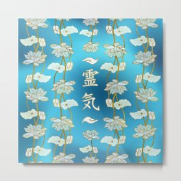 Reiki Healing hands Symbol with lotus on blue Metal Print