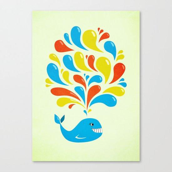 Colorful Swirls Happy Cartoon Whale Canvas Print
