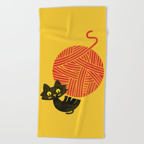Fitz - Happiness (cat and yarn) Beach Towel