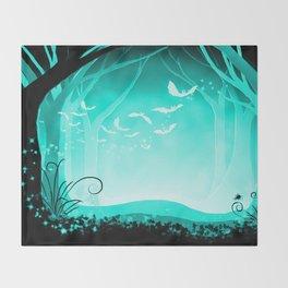 Dark Forest at Dawn in Aqua Throw Blanket