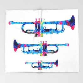 Colorful Trumpet 2 Art By Sharon Cummings Throw Blanket