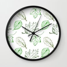Leaves (greens) Wall Clock