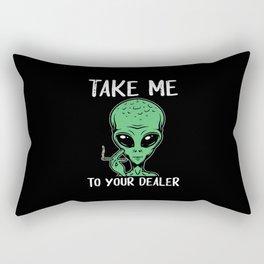 Weed Alien | Cannabis Marihuana 420 Gift Rectangular Pillow