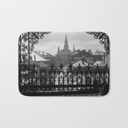 New Orleans 1920s Vintage Photograph from Balcony Bath Mat