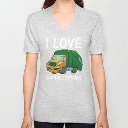 I Love Garbage Rubbish Trash Trucks Climate Earth Day Kids Eco Gift Unisex V-Neck