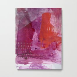 Bright and Alive: an abstract mixed-media piece in purples and reds by Alyssa Hamilton Art Metal Print