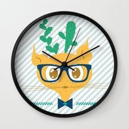 Cactus Cat Wall Clock