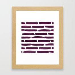 Modern Girly Wine Purple Brushstroke Stripes Framed Art Print
