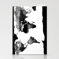 world map Stationery Cards featuring World Map  Black & White by Whimsy Romance & Fun
