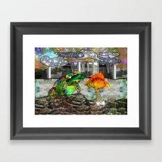 Doodlage 05 - Frog and Fungus   Framed Art Print