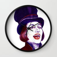 willy wonka Wall Clocks featuring Wonka by Indigo East by ieIndigoEast