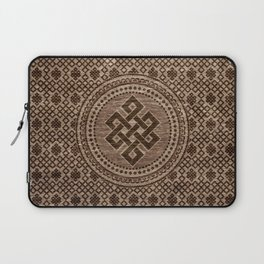Endless Knot Decorative on Wooden Surface Laptop Sleeve