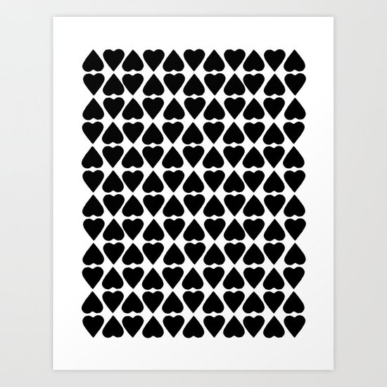 Diamond Hearts Repeat Black Art Print