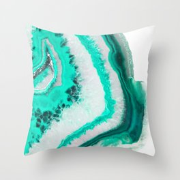 Mint Agate Throw Pillow